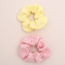 2pcs Solid Pleated Scrunchie