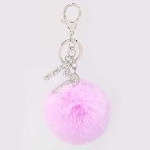 Pom Pom & Letter Charm Keychain