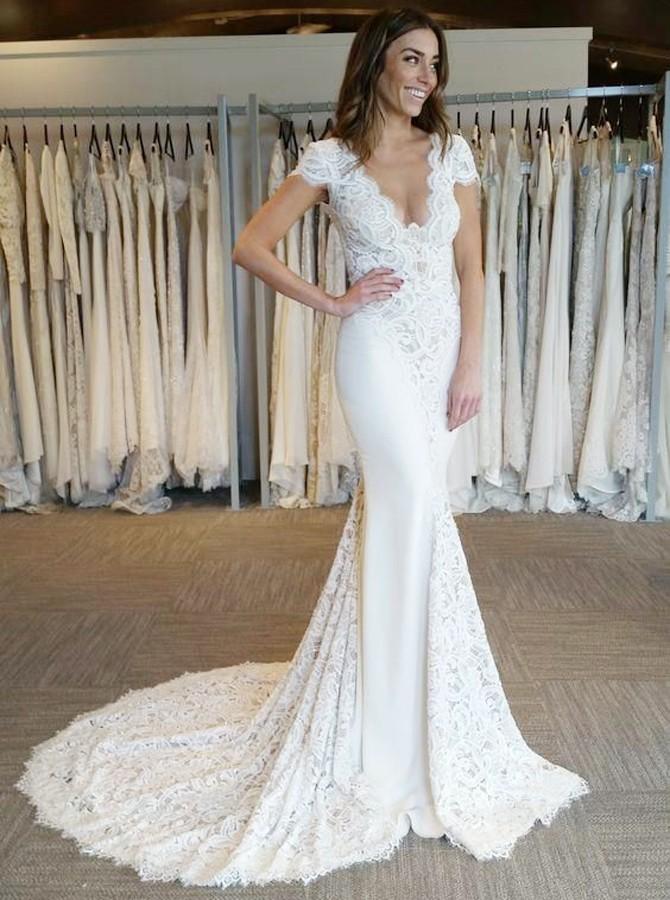 2021 blanco con cuello en V apliques de encaje sirena vestido de novia   Vestido de novia largo sin mangas casquillo sin espalda