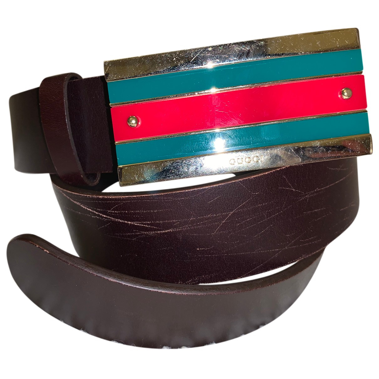 Gucci N Brown Leather belt for Women 80 cm