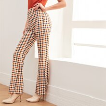 Hose mit elastischer Taille, Karo Muster und ausgestelltem Beinschnitt