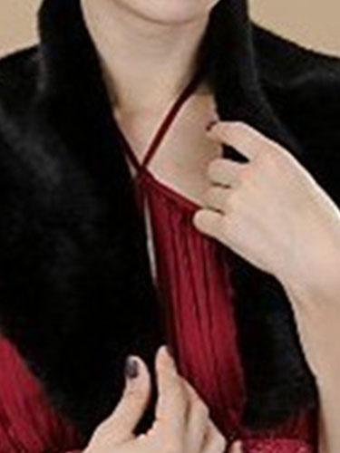 Milanoo Faux Fur Stole Wedding Shawl Black Fluffy Bridal Wrap Shrug
