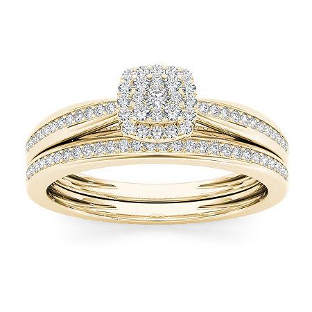 Womens 1/4 CT. T.W. Genuine White Diamond 10K Gold Bridal Set, 6 , No Color Family