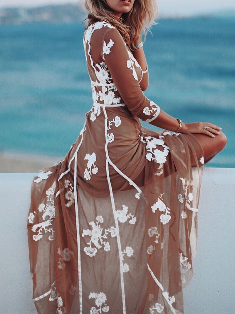 Ericdress Three-Quarter Sleeve V-Neck Ankle-Length Travel Women's Dress