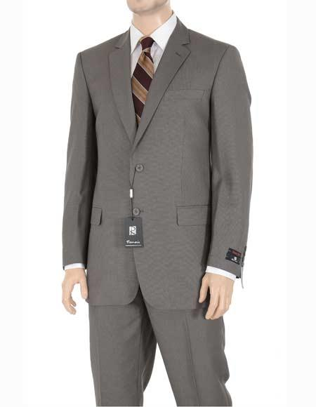 Men's Taupe Regular Fit Birdseye Pattern Side Vent Two Button Suit