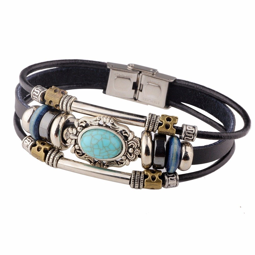 Vintage Multilayer Bracelets Blue Oval Irregular Geometric Leather Bracelet Ethnic Jewelry for Men