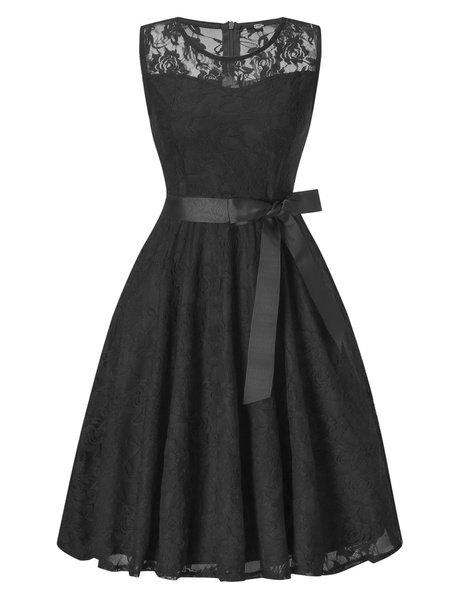 Milanoo Lace Vintage Dress Sleeveless Round Neck Sash Summer Midi Dress