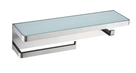 LSTR18152BN-WG Bagno Bianca Stainless Steel White Glass Shelf with Towel Bar & Robe Hook  in Brushed