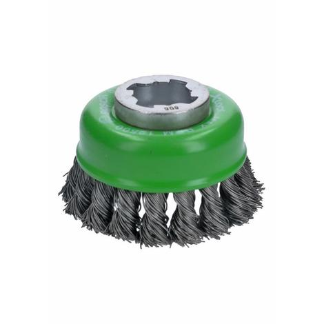 Bosch 3 In. Wheel Dia. X-Lock Arbor Stainless Steel Knotted Wire Single Row Cup Brush