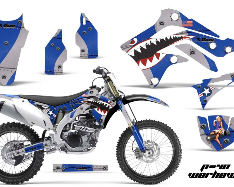 AMR Racing Dirt Bike Decal Graphic Kit Sticker Wrap For Kawasaki KXF450 2012-2015áTBOMBER BLUE