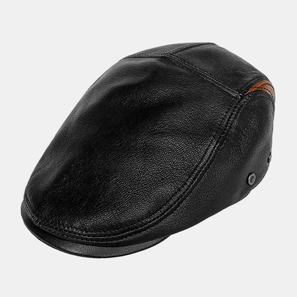 Men Genuine Leather Retro Casual Contrast Color Decoration Leather Forward Hat Beret Hat