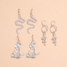 3 Paare Ohrringe mit Schlange Anhaenger