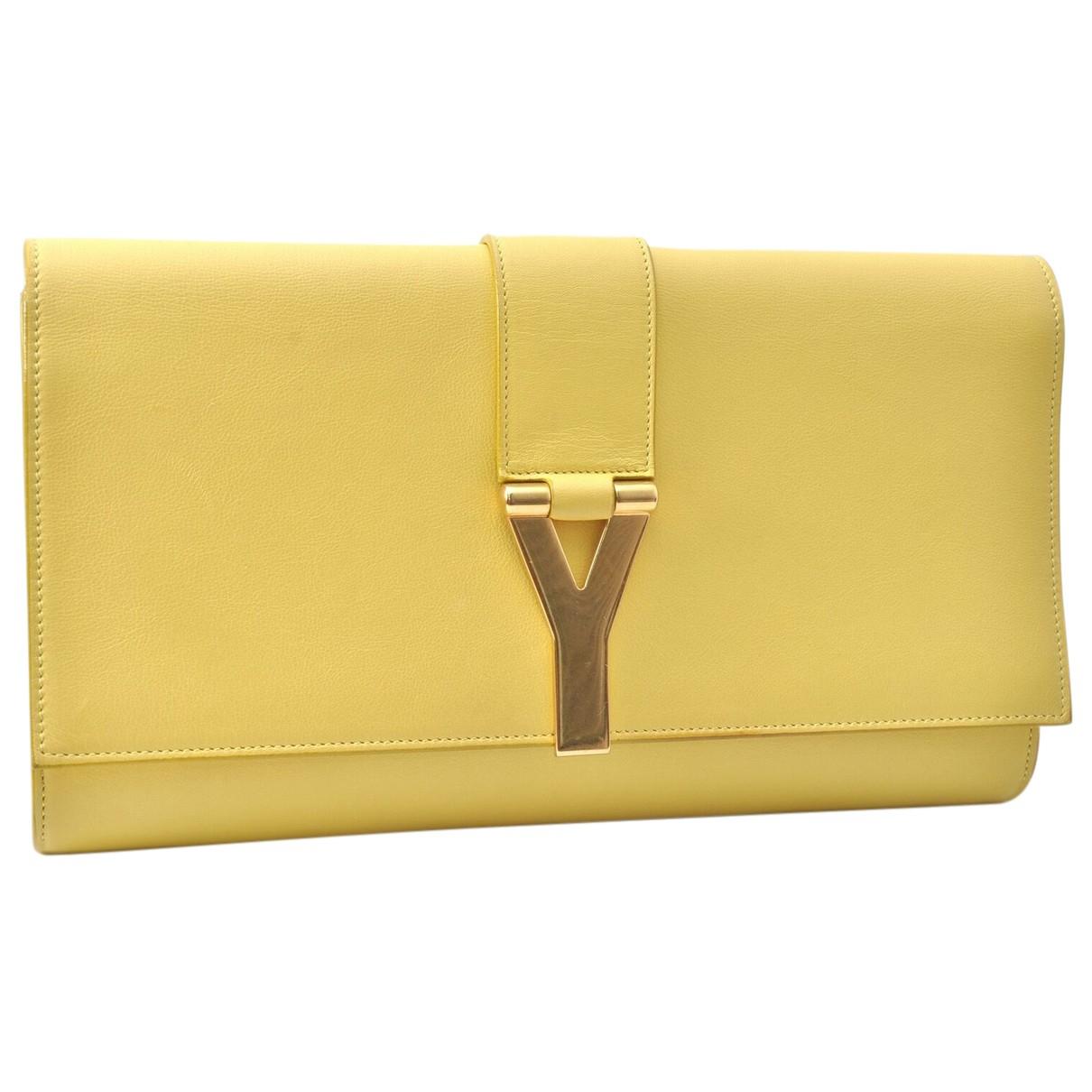 Yves Saint Laurent \N Clutch in  Gelb Leder