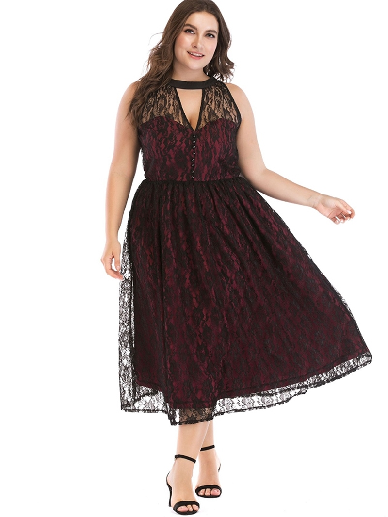 Ericdress Sleeveless Patchwork Mid-Calf Plus Size Plain Dress