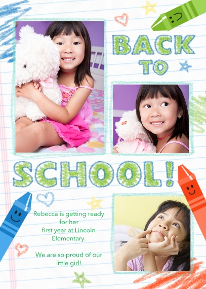 Back to School 5x7 Cards, Standard Cardstock 85lb, Card & Stationery -Back to School Doodle