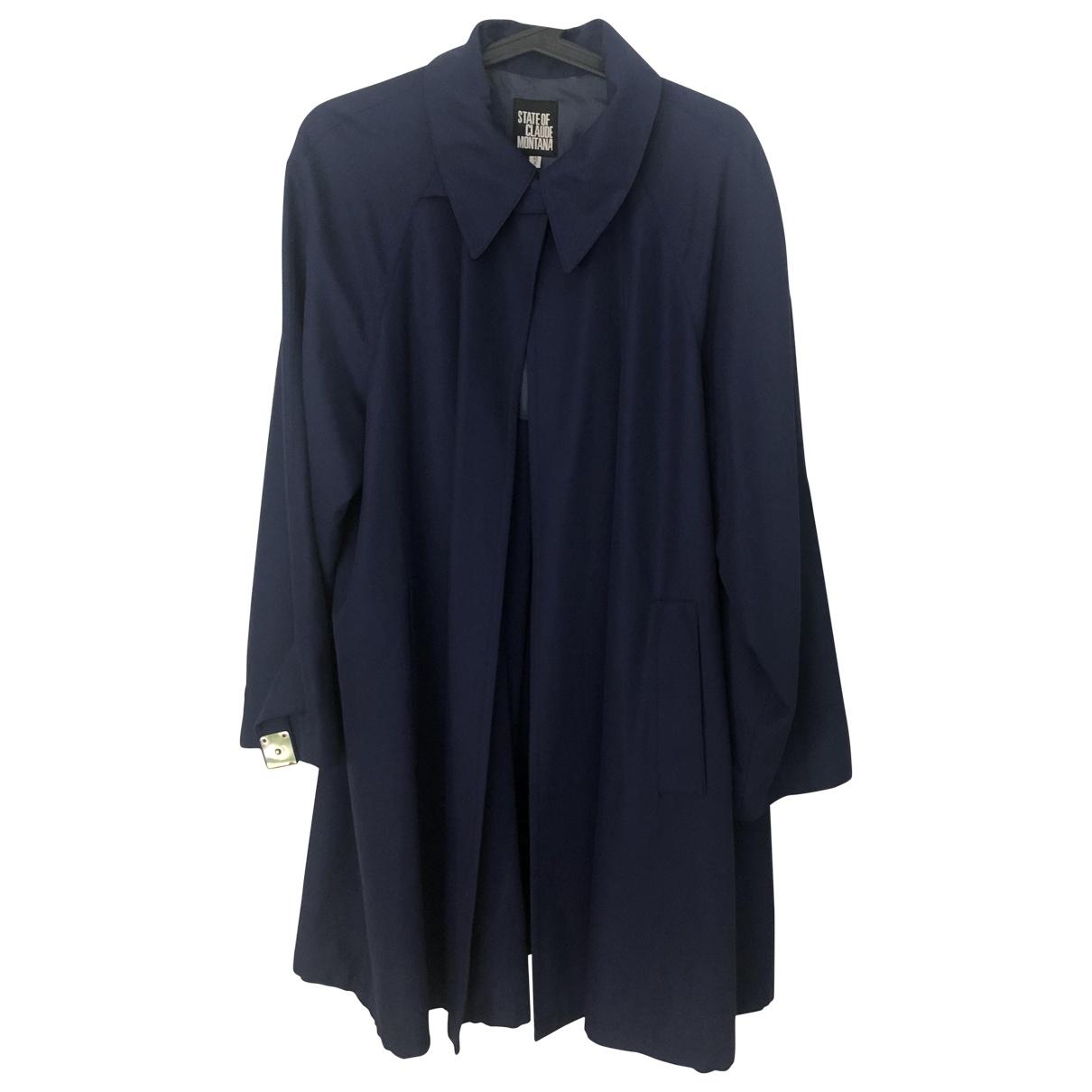 Claude Montana - Manteau   pour femme en coton - bleu