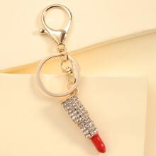 Rhinestone Decor Lipstick Charm Keychain
