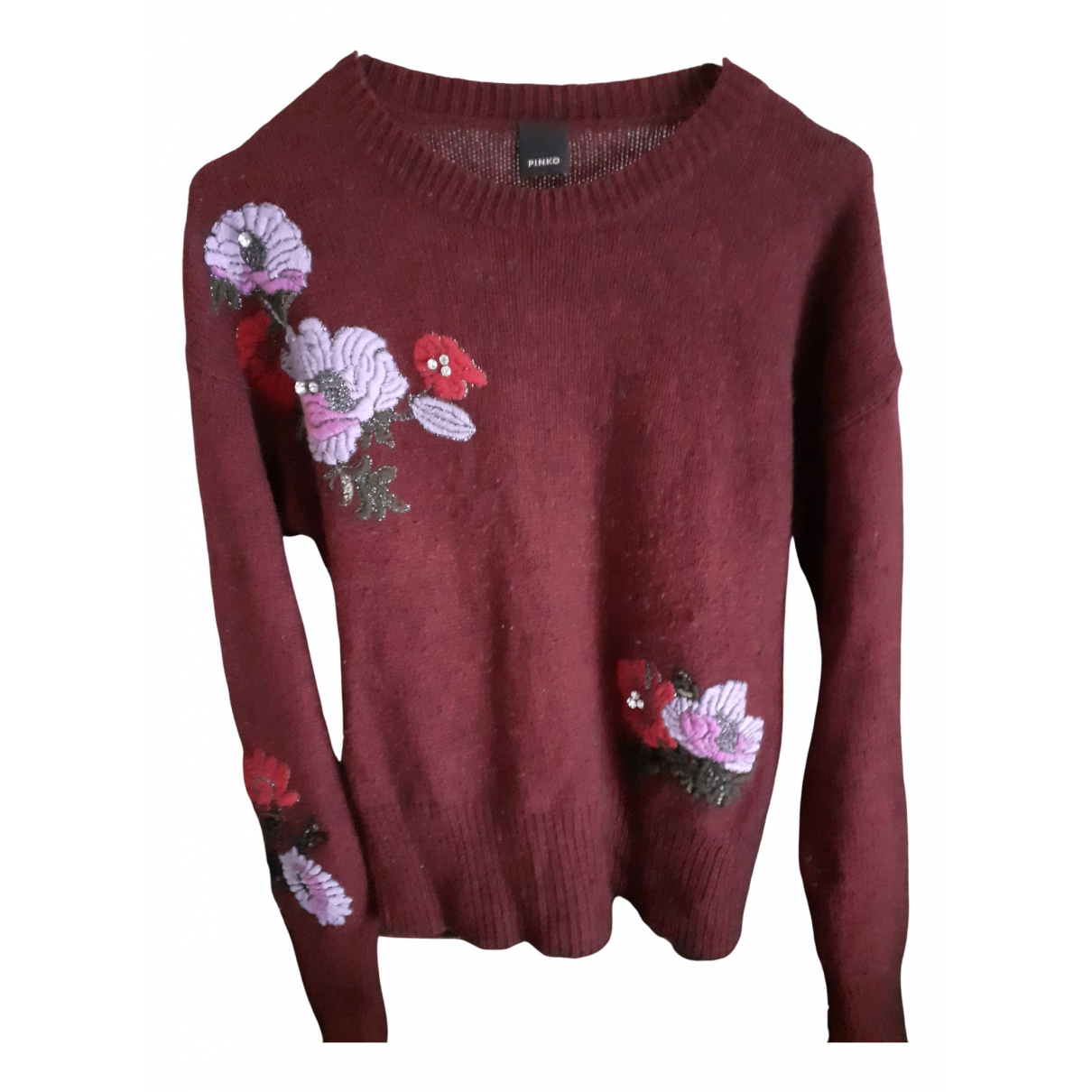 Pinko N Burgundy Wool Knitwear for Women 44 FR