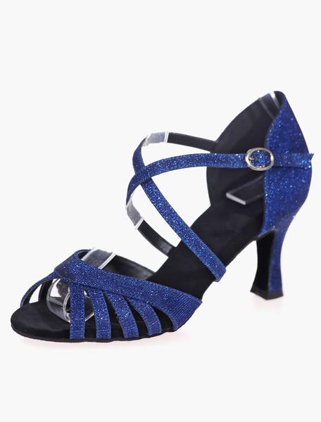 Milanoo Zapatillas de baile de salsa 2020 Zapatos de baile latino de punta abierta Criss Cross Zapatos de salon de baile glitter