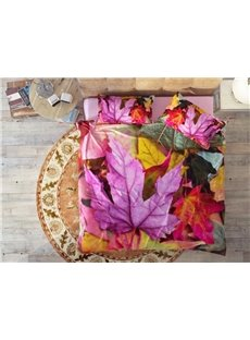Colorful Maple Leaves Soft Wear-resistant Breathable High Quality 60s Cotton 4-Piece 3D Bedding Sets