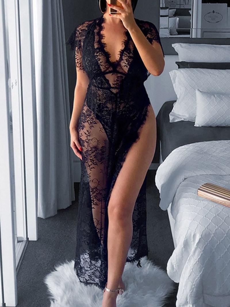 Ericdress Ankle-Length V-Neck Split Pullover High Waist Dress
