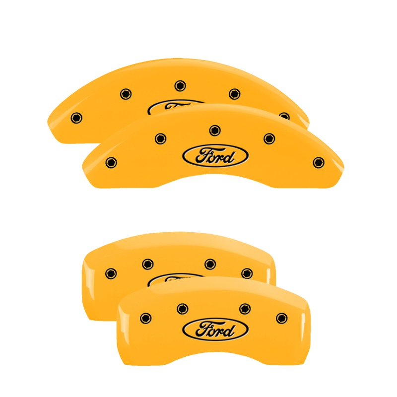 MGP Caliper Covers 10225SFRDYL Set of 4: Yellow finish, Black Ford Oval Logo Ford