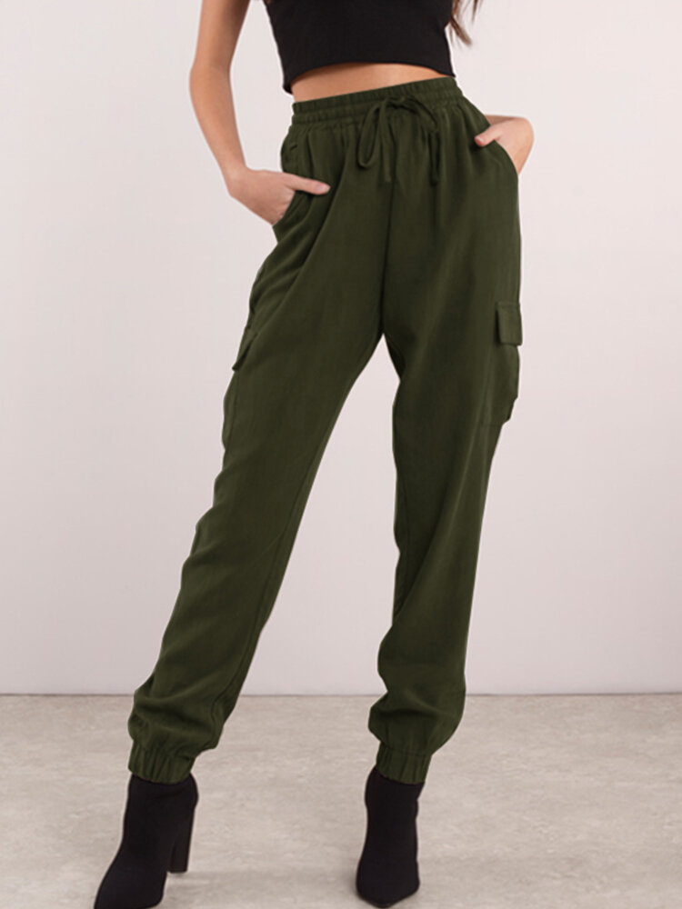 Casual Solid Color Drawstring Plus Size Pants with Pockets