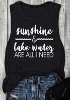 Sunshine & Lake Water Are All I Need Tank - Black