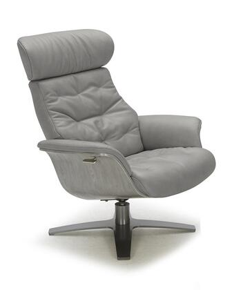 Karma Collection 18146-C Lounge Chair with Italian Leather Upholstery and Wood Veneer Outer Frame in