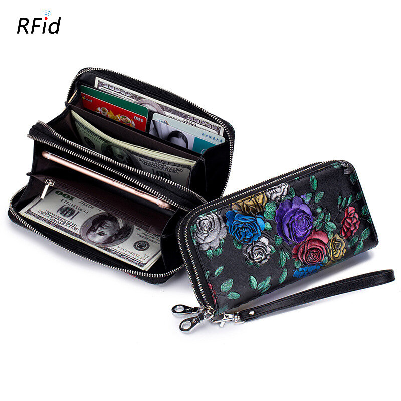Women Print National Style Leather Long Wallet Card Holder Purse