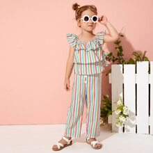 Toddler Girls Rainbow Striped Tiered Layer Butterfly Sleeve Top & Pants