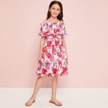 Girls Allover Floral Print Flounce Off Shoulder Dress