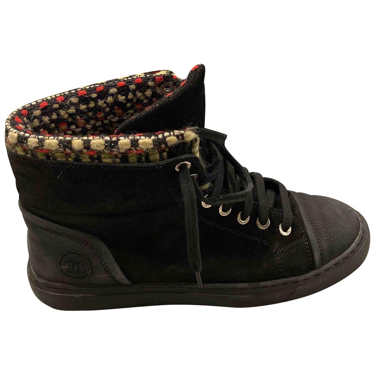 Chanel - Baskets   pour femme en suede - noir