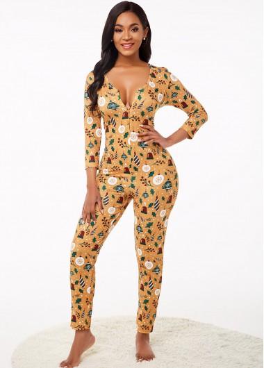 Womens Loungewear and Pajamas Split Neck Christmas Print 3/4 Sleeve Jumpsuit - L