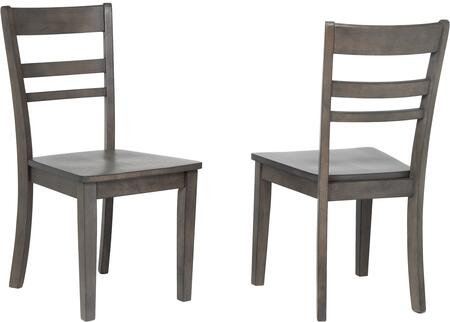 DLU-EL-C200-2 Shades of Gray Collection Dining Chair with Tapered Legs  Solid Oak Wood Construction and Ladder Open Back  in Weathered