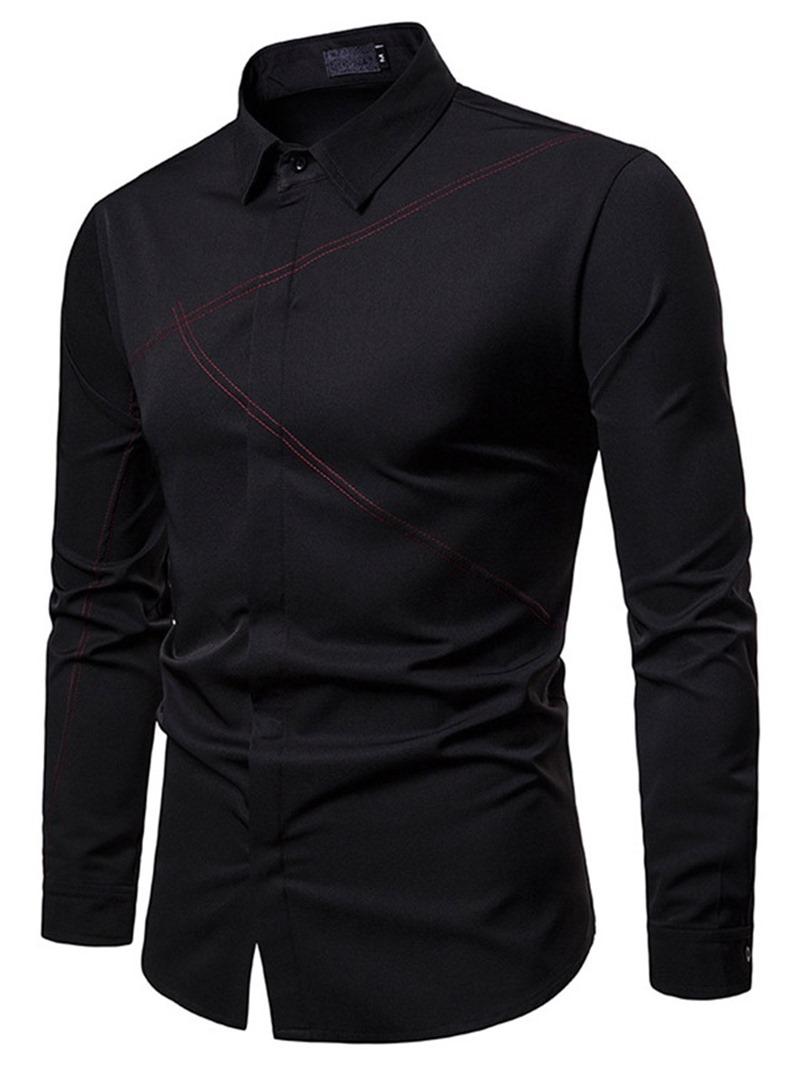 Ericdress Lapel Plain Striped Button Up Mens Shirt