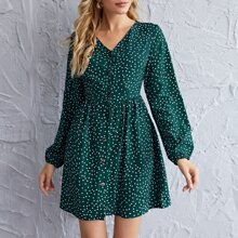 Polka Dot Lantern Sleeve Button Up Dress