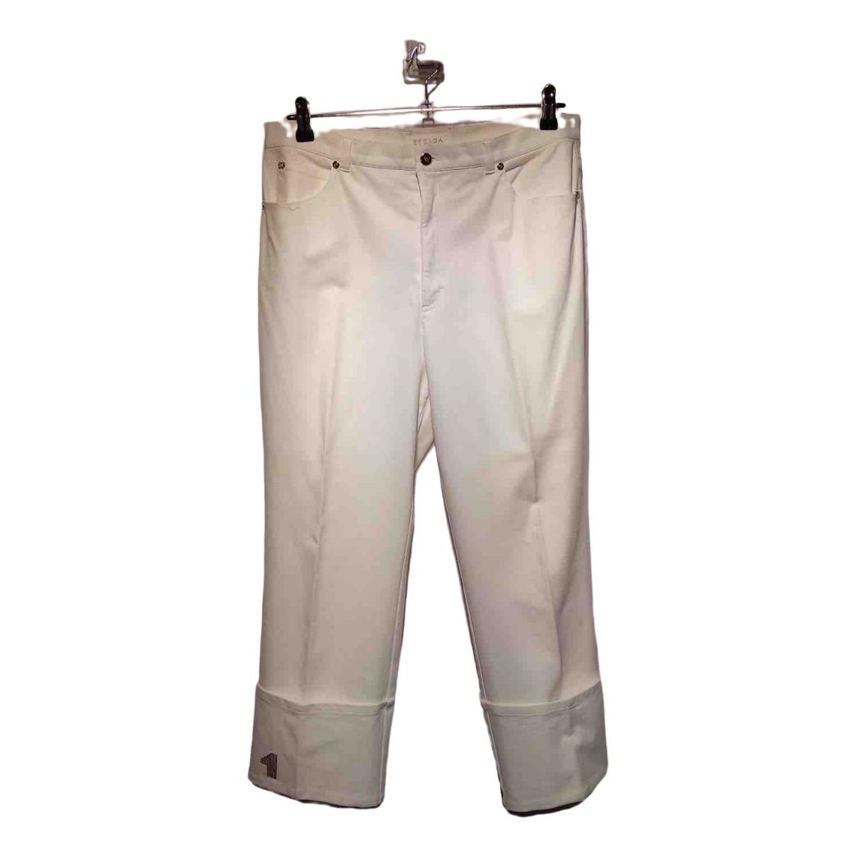 Escada \N White Cotton Trousers for Women 44 FR