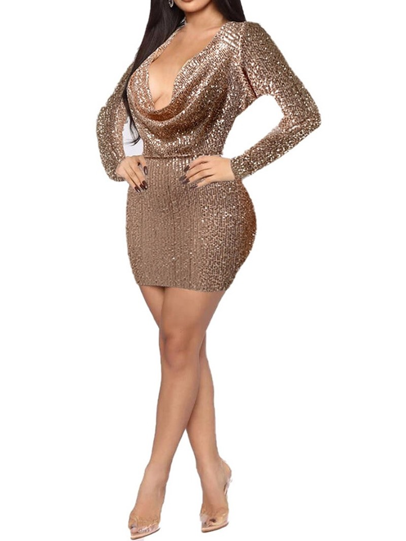Ericdress Long Sleeve Sequins Above Knee Fall Women's Bodycon Dress