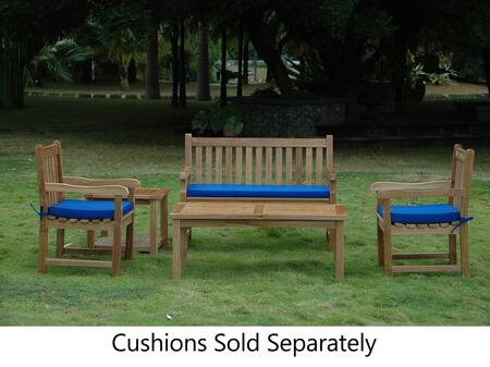 SET-118 5-Piece Patio Set with Classic 2-Seater Bench  2 Classic Dining Armchairs  Bahama Rectangular Coffee Table and Bahama 2-Tier Square Side