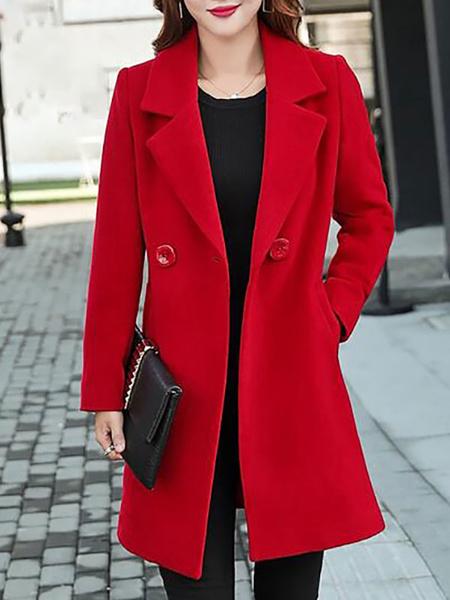 Milanoo Red Wool Coat Notch Collar Long Sleeve Winter Coats For Women