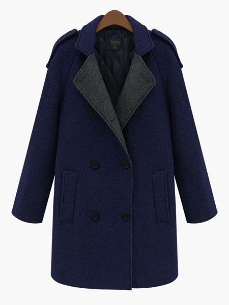 Milanoo Two-Tone Hooded Wool Coat