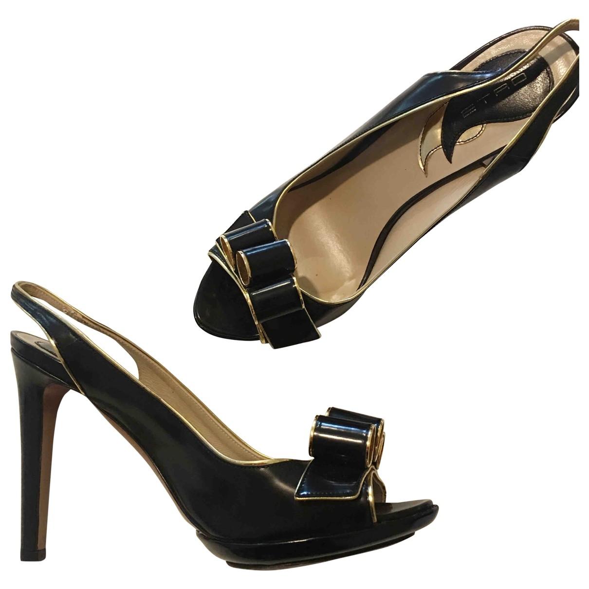 Etro \N Black Leather Sandals for Women 37.5 EU