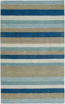 PLAPL312900090508 Platoon PL3129-5' x 8' Hand-Loomed New Zealand Wool Blend Rug in Blue  Rectangle