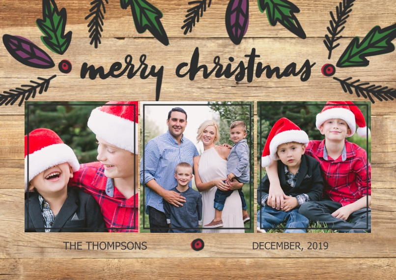 Christmas Photo Cards Flat Matte Photo Paper Cards with Envelopes, 5x7, Card & Stationery -Rustic Christmas