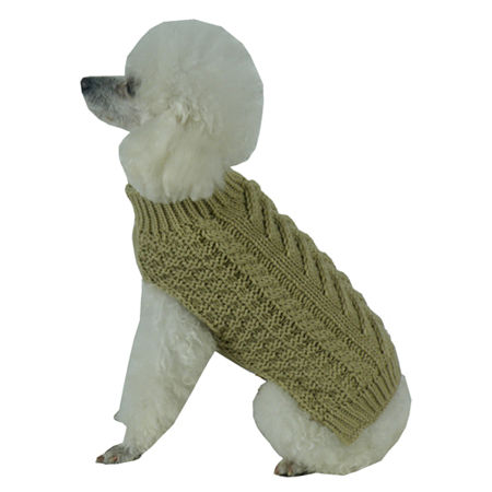 The Pet Life Swivel-Swirl Heavy Cable Knitted Fashion Designer Dog Sweater, One Size , Beige