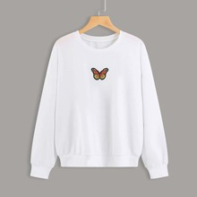 Butterfly Embroidery Oversized Sweatshirt