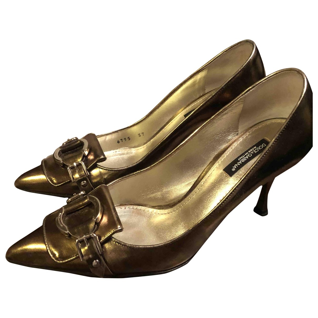 Dolce & Gabbana - Escarpins   pour femme en cuir - dore