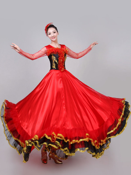 Milanoo Flamenco Girls Yellow Long Sleeves Mesh Billowing Dancing Skirt Adults Spanish Dancer Ballroom Dress Paso Doble Costumes Halloween