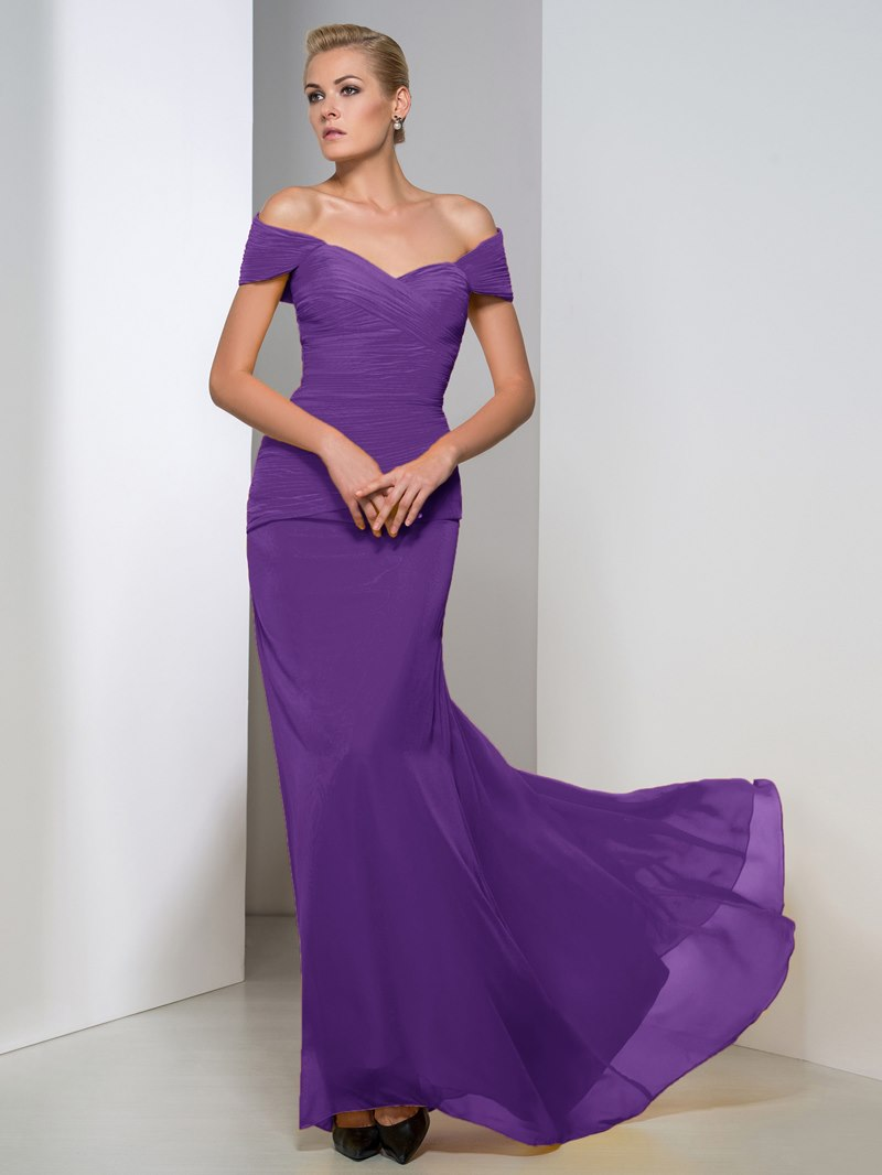 Ericdress Off-The-Shoulder Pleats Sheath Evening Dress
